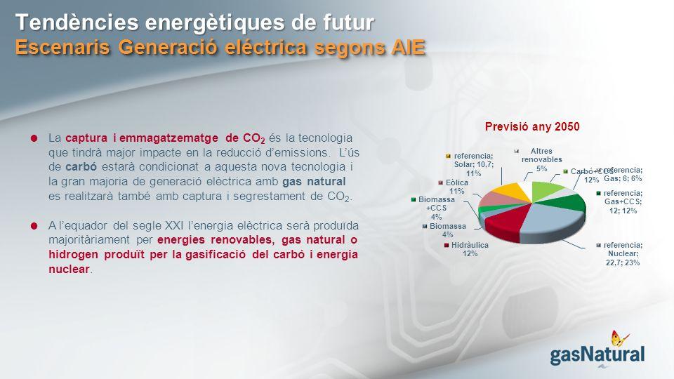 Tendències energètiques de futur Escenaris Generació eléctrica segons AIE La captura i emmagatzematge de CO 2 és la tecnologia que tindrà major impacte en la reducció demissions.