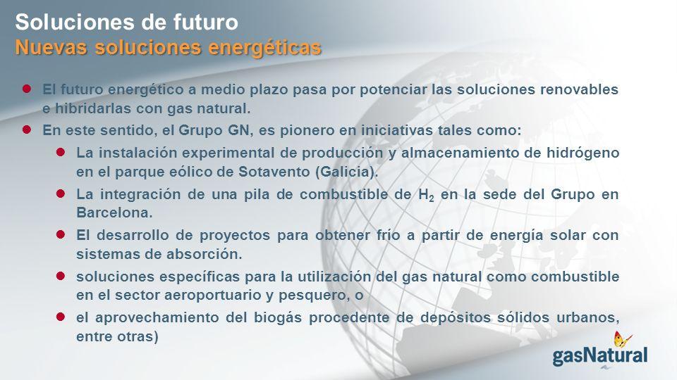 Nuevas soluciones energéticas Soluciones de futuro El futuro energético a medio plazo pasa por potenciar las soluciones renovables e hibridarlas con gas natural.