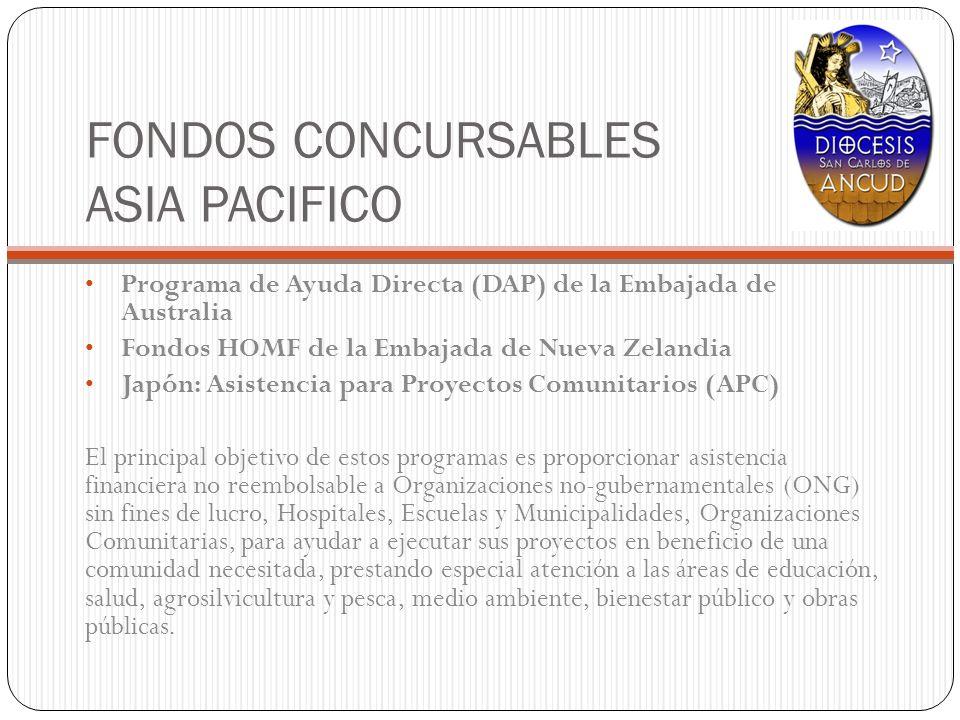 FONDOS CONCURSABLES ASIA PACIFICO Programa de Ayuda Directa (DAP) de la Embajada de Australia Fondos HOMF de la Embajada de Nueva Zelandia Japón: Asis