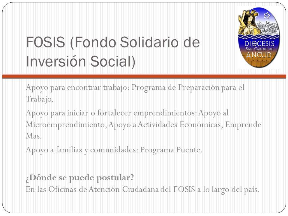 FOSIS (Fondo Solidario de Inversión Social) Apoyo para encontrar trabajo: Programa de Preparación para el Trabajo. Apoyo para iniciar o fortalecer emp