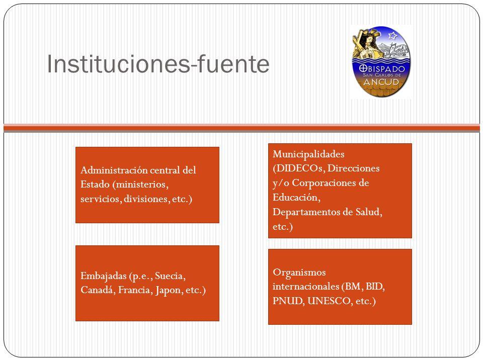 Instituciones-fuente Administración central del Estado (ministerios, servicios, divisiones, etc.) Municipalidades (DIDECOs, Direcciones y/o Corporacio