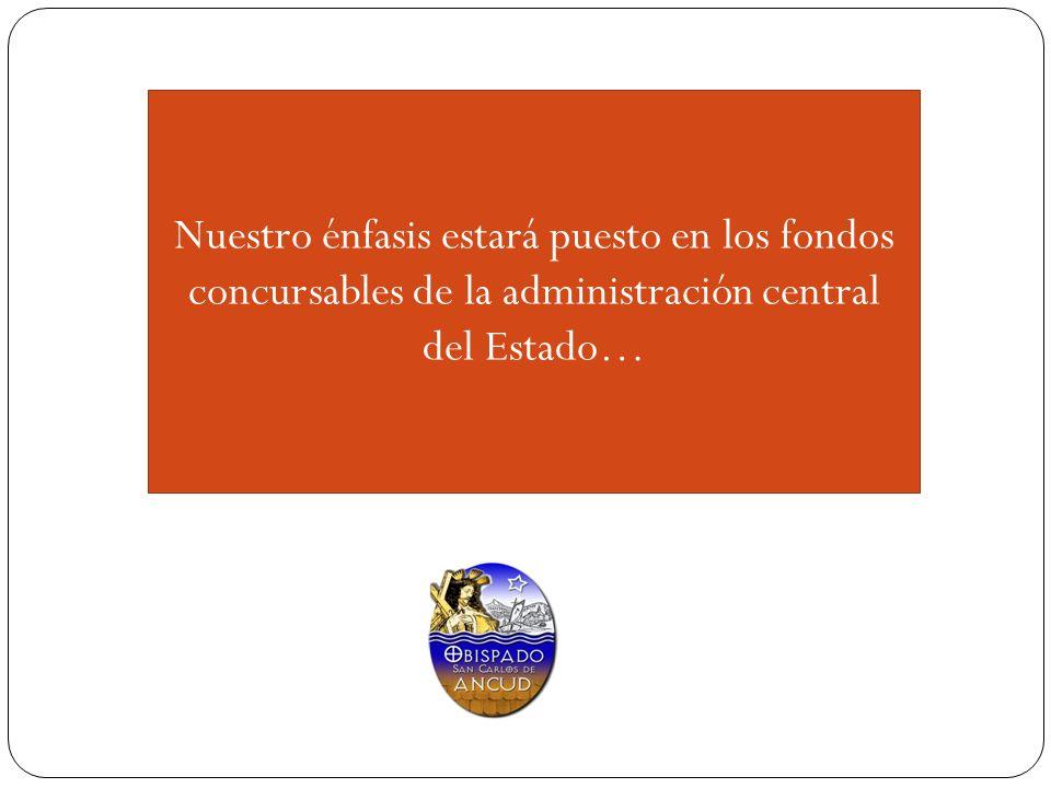 Nuestro énfasis estará puesto en los fondos concursables de la administración central del Estado…