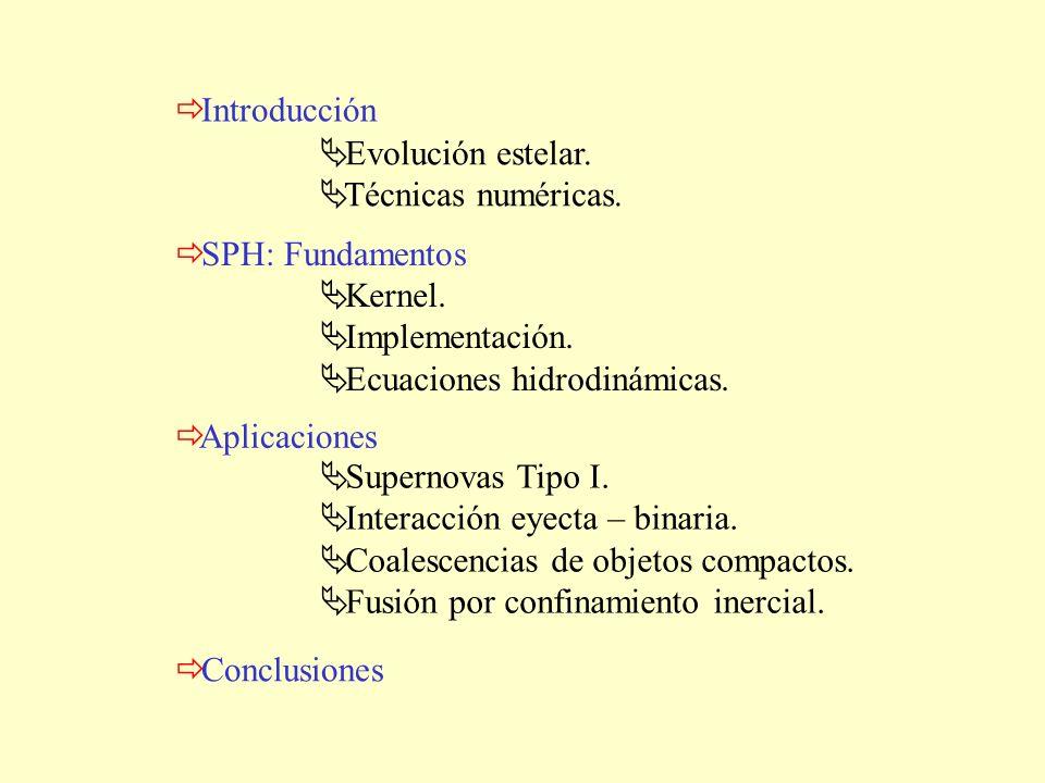 Introducción Aplicaciones Conclusiones SPH: Fundamentos Evolución estelar. Técnicas numéricas. Kernel. Implementación. Ecuaciones hidrodinámicas. Supe