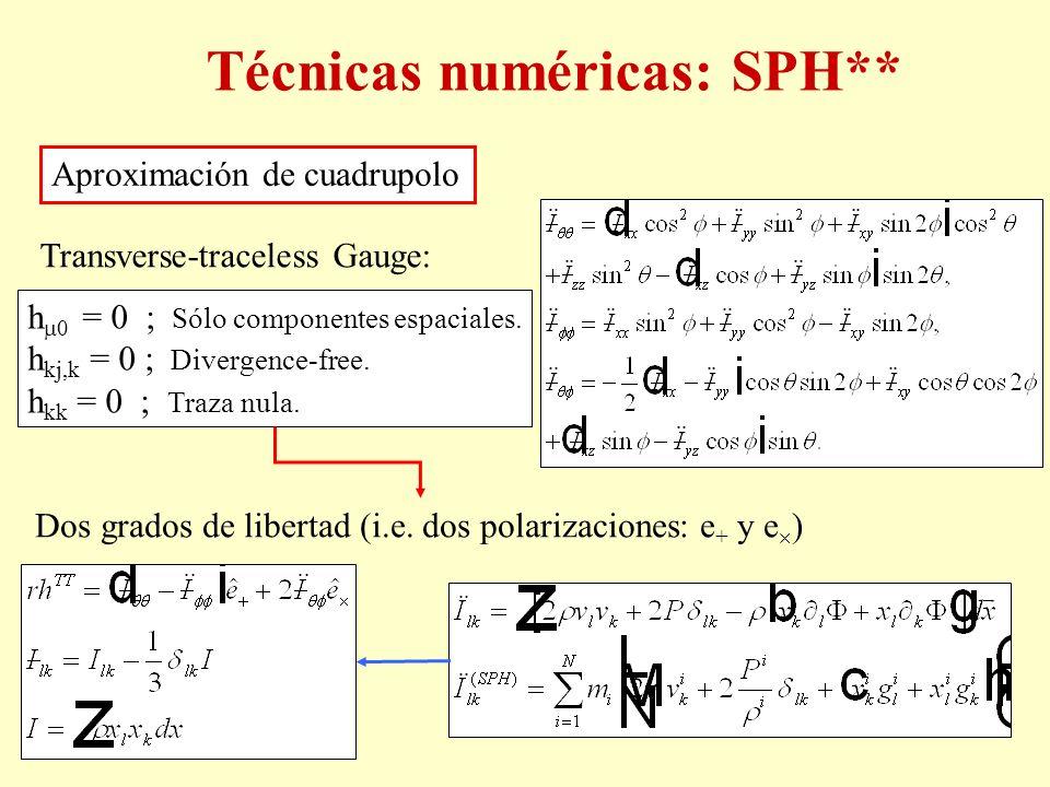 Aproximación de cuadrupolo Transverse-traceless Gauge: h 0 = 0 ; Sólo componentes espaciales. h kj,k = 0 ; Divergence-free. h kk = 0 ; Traza nula. Dos