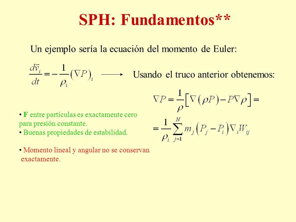 SPH: Fundamentos** Un ejemplo sería la ecuación del momento de Euler: Usando el truco anterior obtenemos: F entre partículas es exactamente cero para