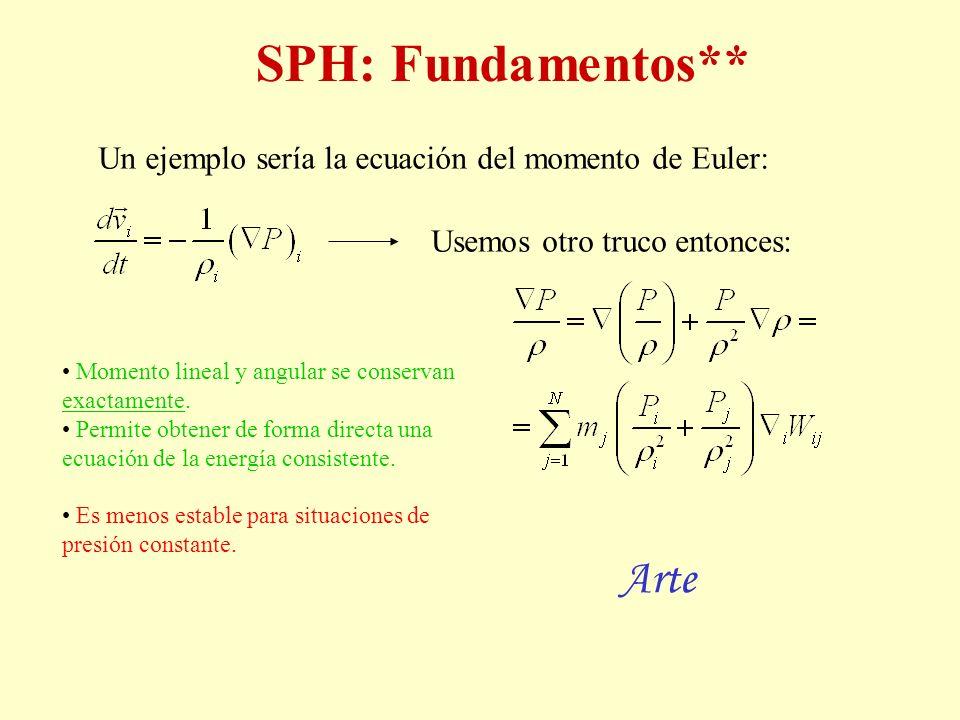 SPH: Fundamentos** Un ejemplo sería la ecuación del momento de Euler: Usemos otro truco entonces: Momento lineal y angular se conservan exactamente. P