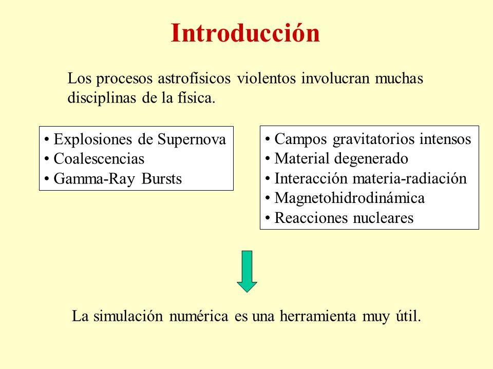 Los procesos astrofísicos violentos involucran muchas disciplinas de la física. La simulación numérica es una herramienta muy útil. Explosiones de Sup