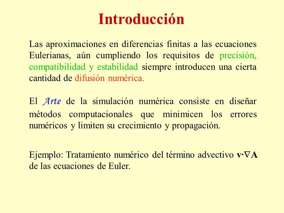 Introducción Las aproximaciones en diferencias finitas a las ecuaciones Eulerianas, aún cumpliendo los requisitos de precisión, compatibilidad y estab