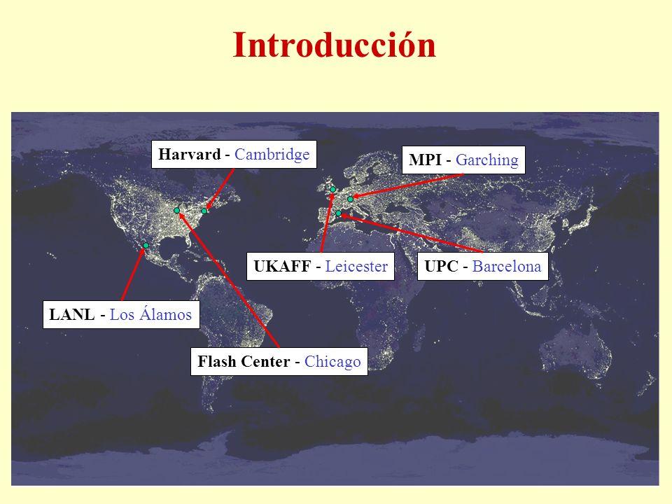 Introducción UPC - Barcelona LANL - Los Álamos Harvard - CambridgeMPI - Garching Flash Center - Chicago UKAFF - Leicester
