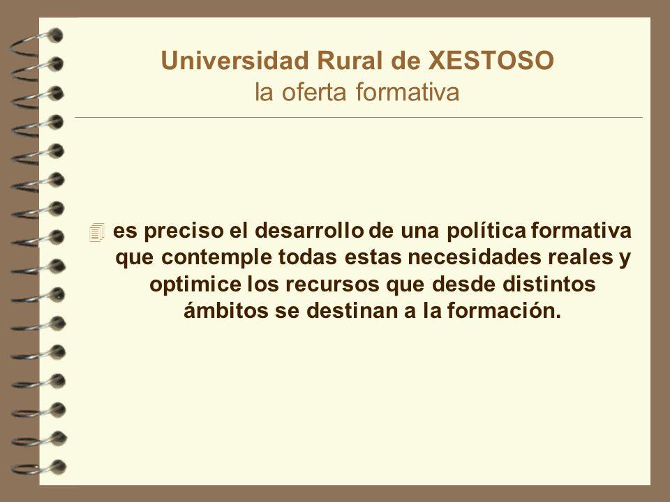 Universidad Rural de XESTOSO la oferta formativa 4 es preciso el desarrollo de una política formativa que contemple todas estas necesidades reales y optimice los recursos que desde distintos ámbitos se destinan a la formación.