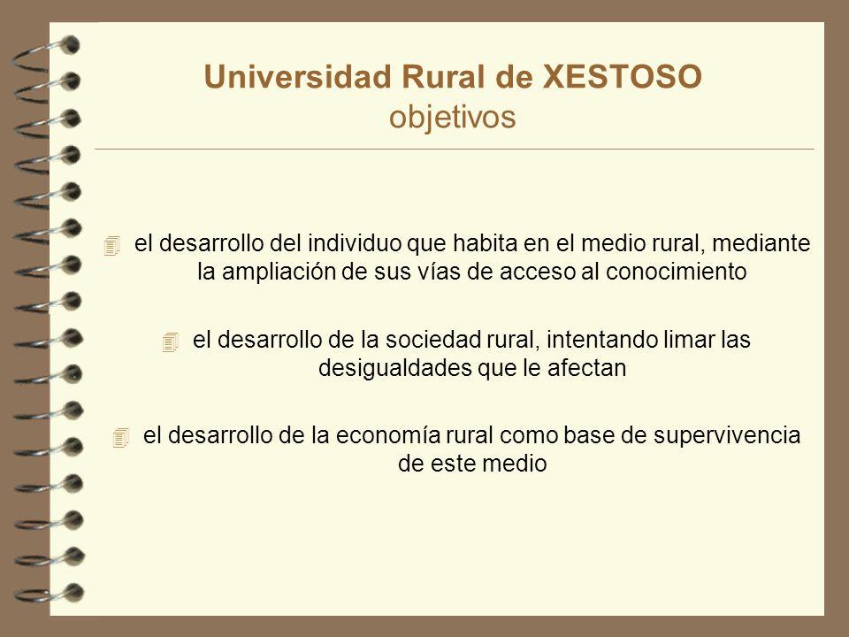 Universidad Rural de XESTOSO objetivos 4 el desarrollo del individuo que habita en el medio rural, mediante la ampliación de sus vías de acceso al conocimiento 4 el desarrollo de la sociedad rural, intentando limar las desigualdades que le afectan 4 el desarrollo de la economía rural como base de supervivencia de este medio