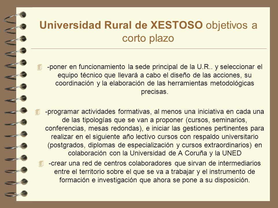 Universidad Rural de XESTOSO objetivos a corto plazo 4 -poner en funcionamiento la sede principal de la U.R..