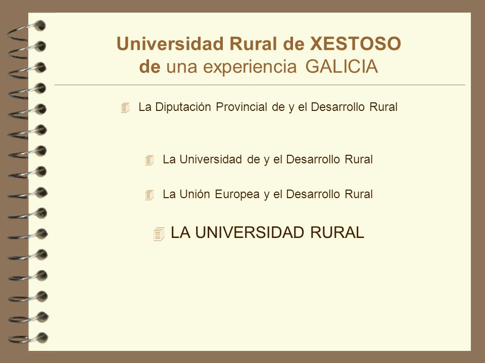 Universidad Rural de XESTOSO 4 Área de Desarrollo Rural: Las asignaturas de esta área son: Politica y Planificación Agrarias; Agricultura Empresarial y Sistemas Agroalimentarios.