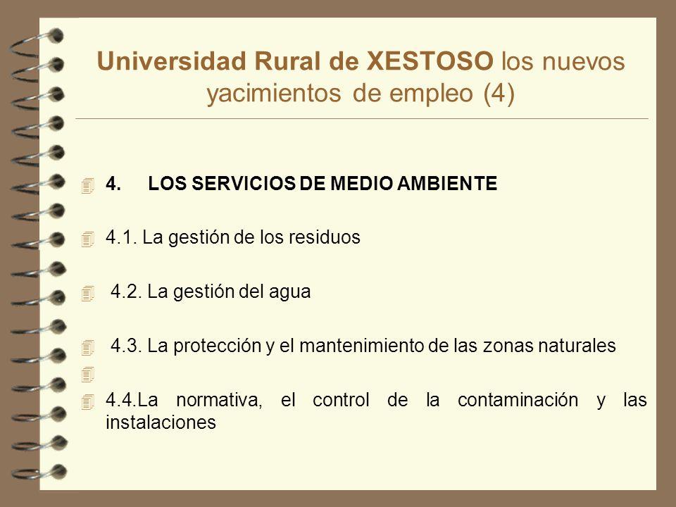 Universidad Rural de XESTOSO los nuevos yacimientos de empleo (4) 4 4.LOS SERVICIOS DE MEDIO AMBIENTE 4 4.1.