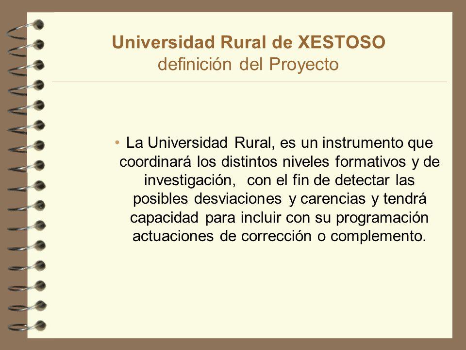 Universidad Rural de XESTOSO definición del Proyecto La Universidad Rural, es un instrumento que coordinará los distintos niveles formativos y de investigación, con el fin de detectar las posibles desviaciones y carencias y tendrá capacidad para incluir con su programación actuaciones de corrección o complemento.