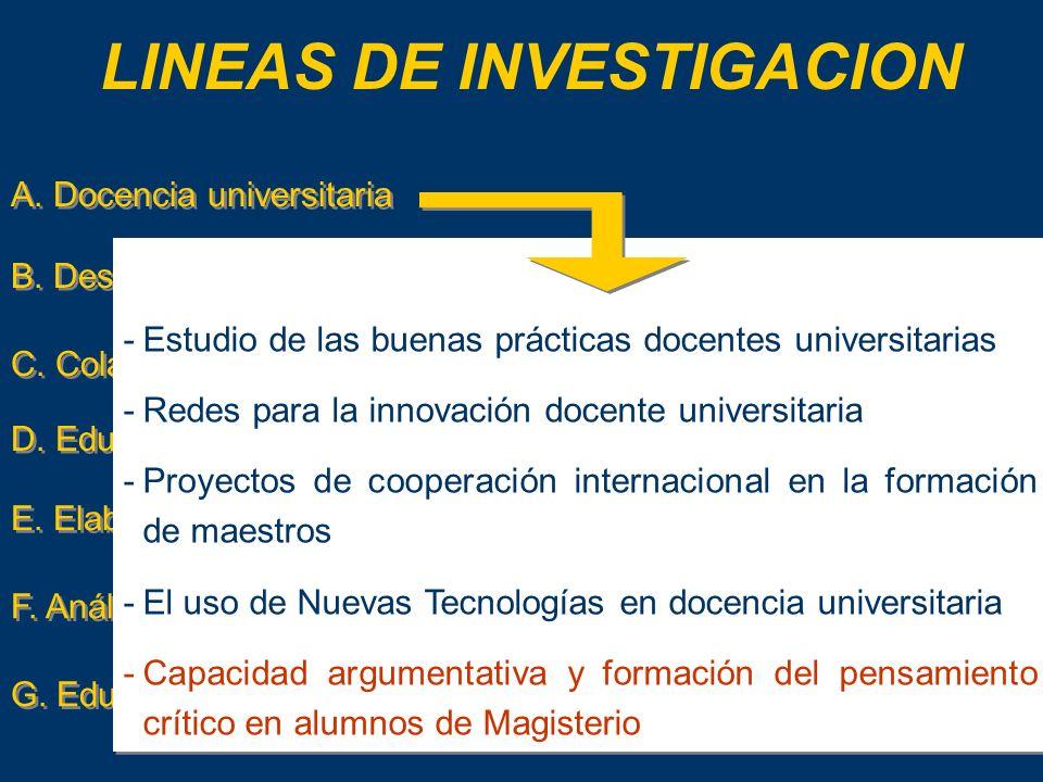 G.Educación en seguridad y salud LINEAS DE INVESTIGACION A.