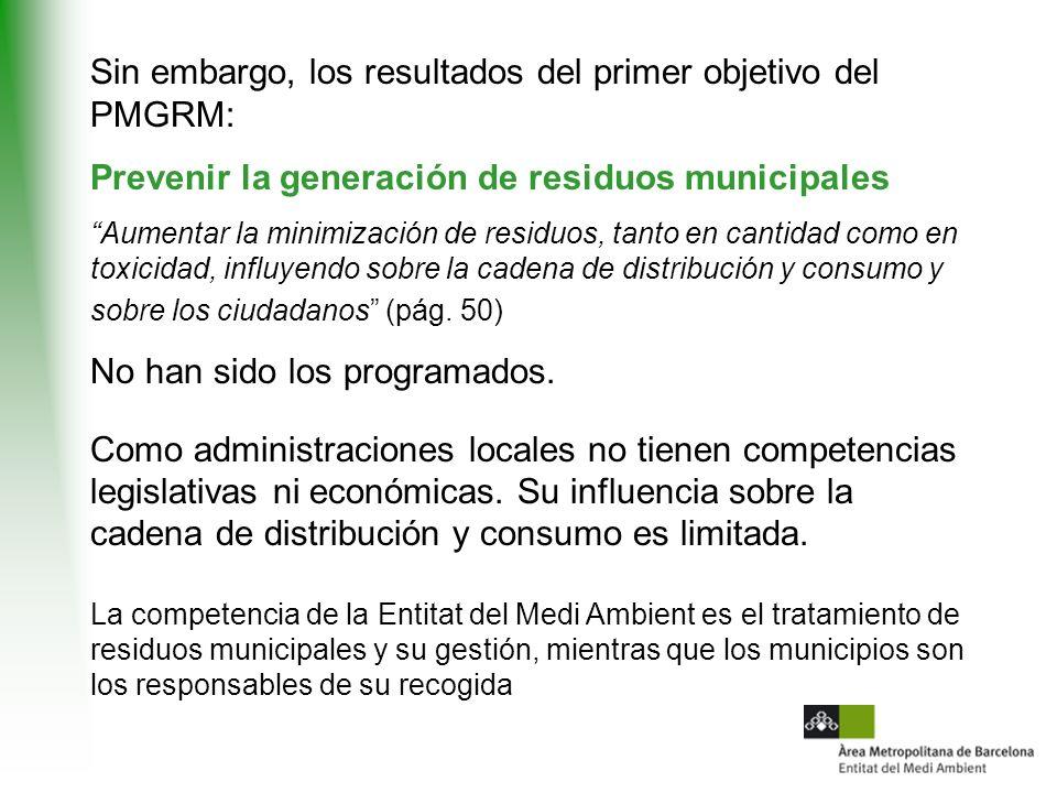 Sin embargo, los resultados del primer objetivo del PMGRM: Prevenir la generación de residuos municipales Aumentar la minimización de residuos, tanto en cantidad como en toxicidad, influyendo sobre la cadena de distribución y consumo y sobre los ciudadanos (pág.