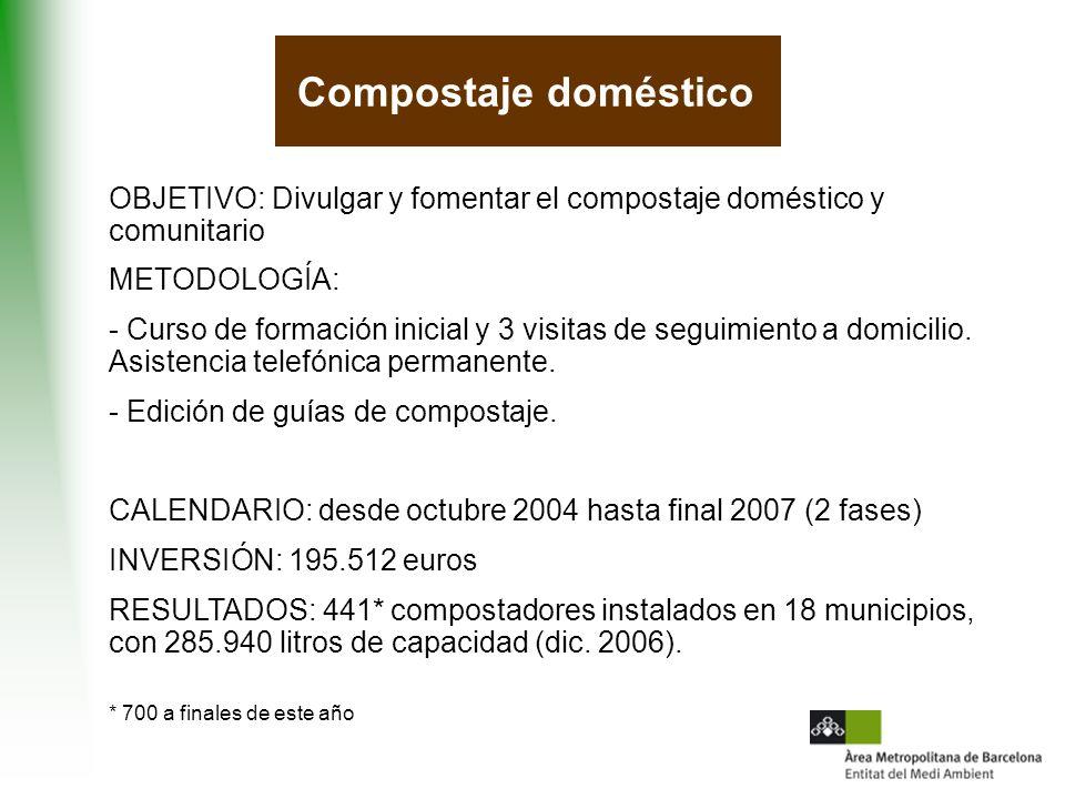 OBJETIVO: Divulgar y fomentar el compostaje doméstico y comunitario METODOLOGÍA: - Curso de formación inicial y 3 visitas de seguimiento a domicilio.
