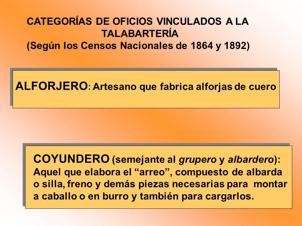 CATEGORÍAS DE OFICIOS VINCULADOS A LA TALABARTERÍA (Según los Censos Nacionales de 1864 y 1892) ALFORJERO : Artesano que fabrica alforjas de cuero COY