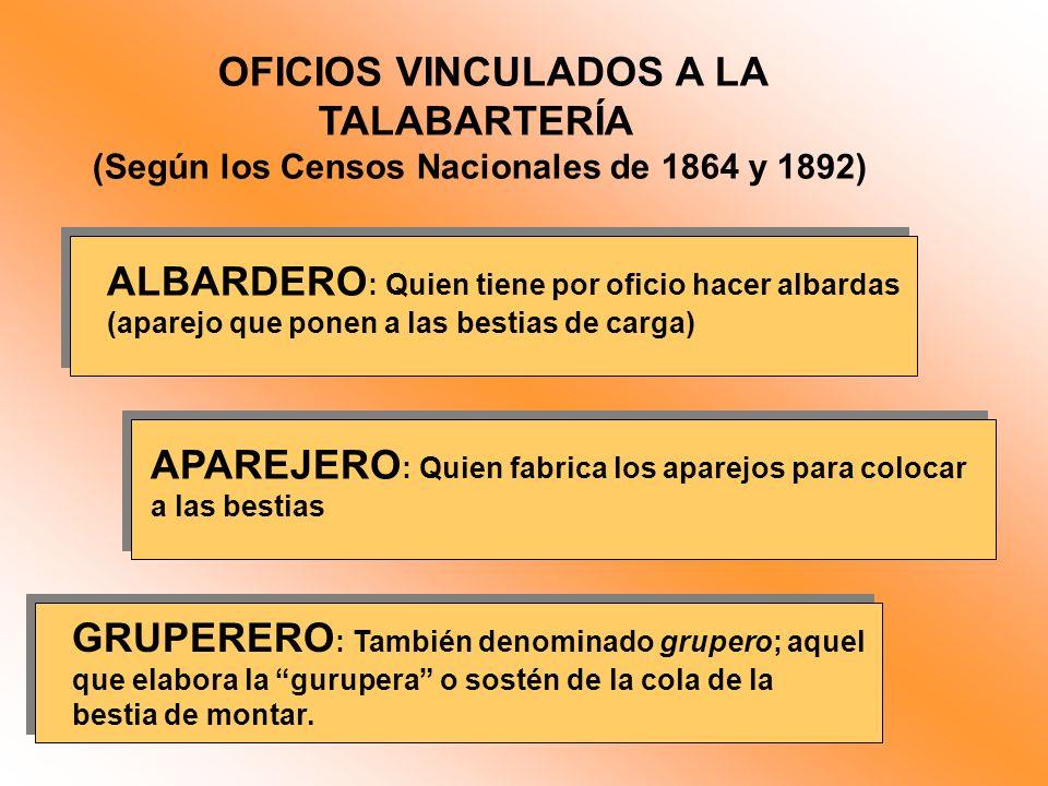 OFICIOS VINCULADOS A LA TALABARTERÍA (Según los Censos Nacionales de 1864 y 1892) ALBARDERO : Quien tiene por oficio hacer albardas (aparejo que ponen