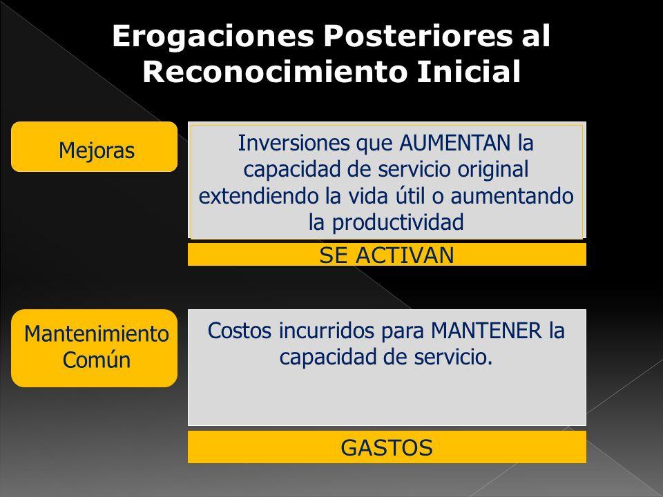 Erogaciones Posteriores al Reconocimiento Inicial Mejoras Inversiones que AUMENTAN la capacidad de servicio original extendiendo la vida útil o aument