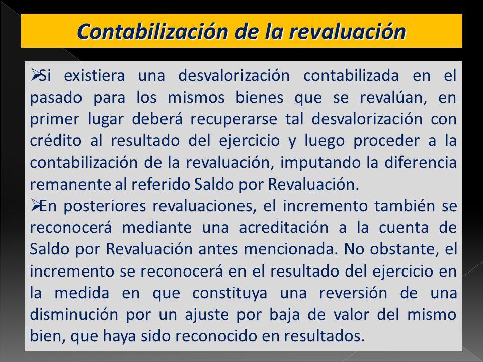 Contabilización de la revaluación Si existiera una desvalorización contabilizada en el pasado para los mismos bienes que se revalúan, en primer lugar
