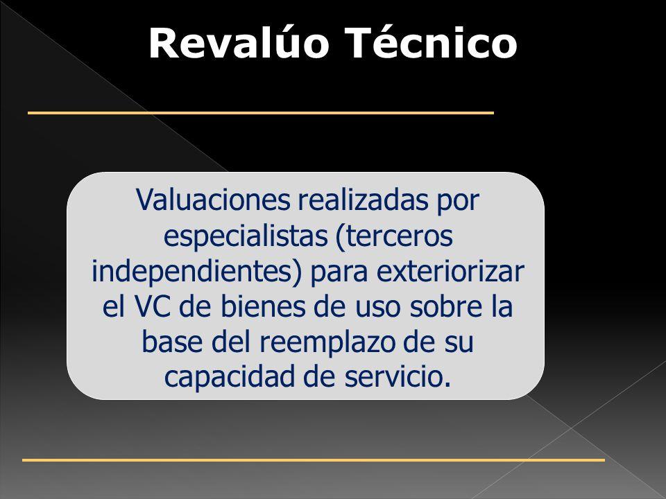 Revalúo Técnico Valuaciones realizadas por especialistas (terceros independientes) para exteriorizar el VC de bienes de uso sobre la base del reemplazo de su capacidad de servicio.