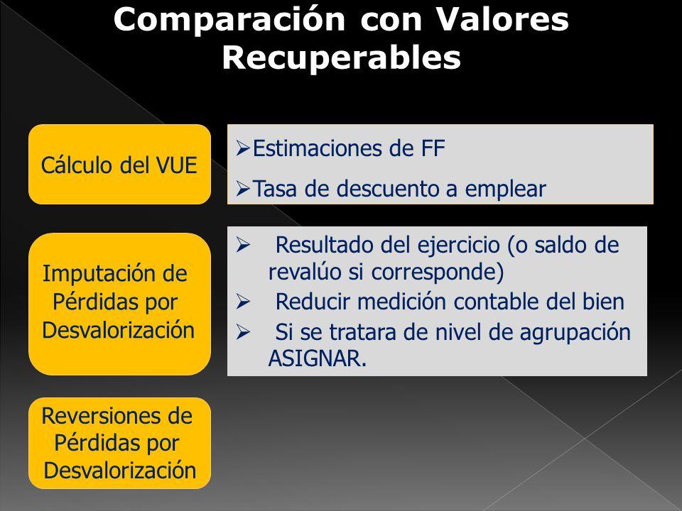 Comparación con Valores Recuperables Imputación de Pérdidas por Desvalorización Reversiones de Pérdidas por Desvalorización Cálculo del VUE Estimacion