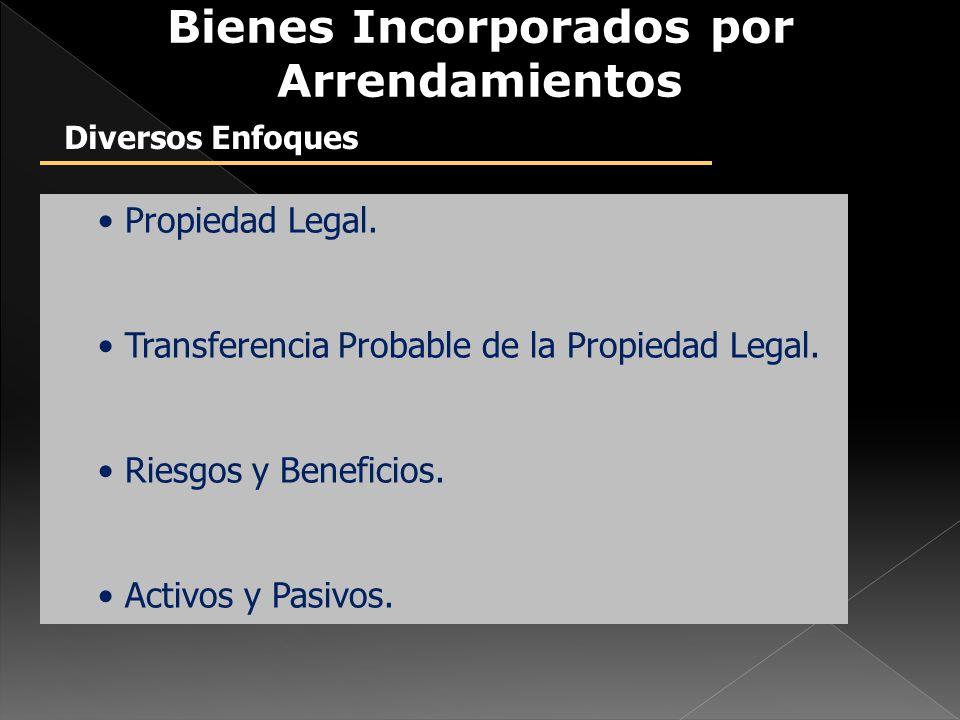 Propiedad Legal. Transferencia Probable de la Propiedad Legal. Riesgos y Beneficios. Activos y Pasivos. Bienes Incorporados por Arrendamientos Diverso