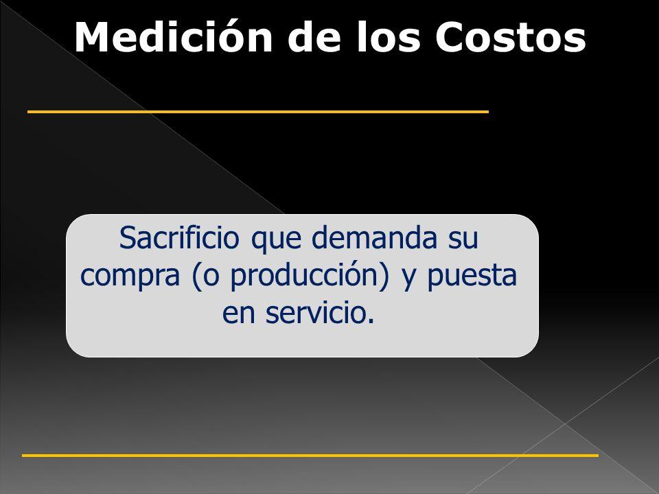 Medición de los Costos Sacrificio que demanda su compra (o producción) y puesta en servicio.