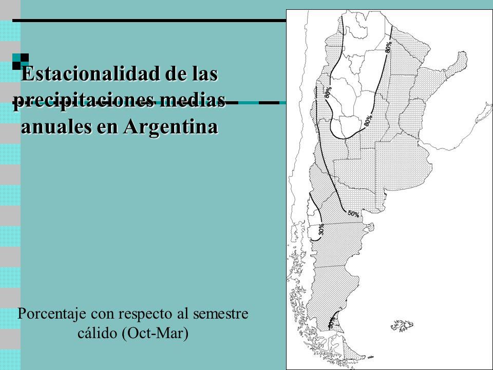 Estacionalidad de las precipitaciones medias anuales en Argentina Porcentaje con respecto al semestre cálido (Oct-Mar)