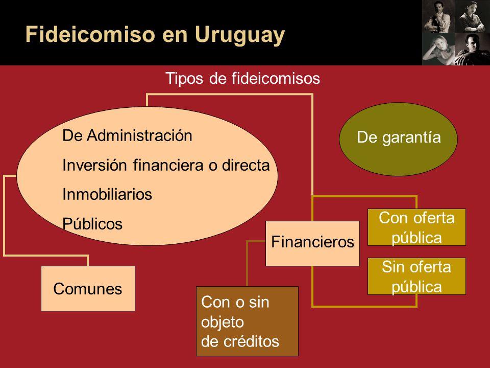 Fideicomiso en Uruguay Tipos de fideicomisos De Administración Inversión financiera o directa Inmobiliarios Públicos De garantía Comunes Financieros Con oferta pública Sin oferta pública Con o sin objeto de créditos