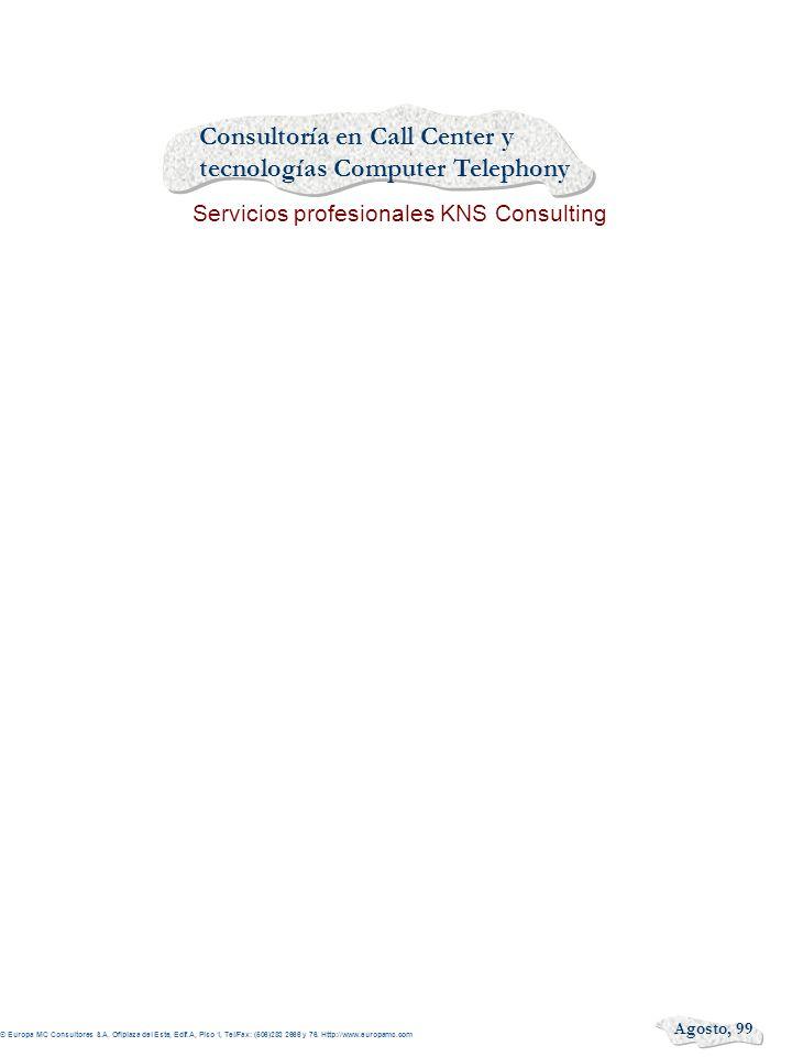 Consultoría en Call Center y tecnologías Computer Telephony Servicios profesionales KNS Consulting Agosto, 99 © Europa MC Consultores S.A. Ofiplaza de