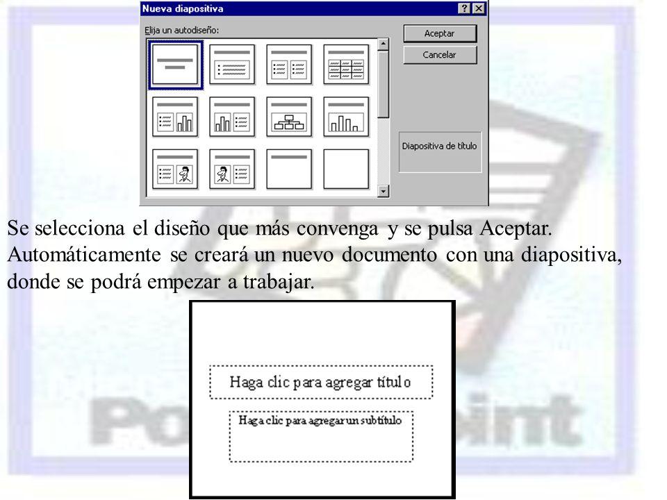 Se selecciona el diseño que más convenga y se pulsa Aceptar. Automáticamente se creará un nuevo documento con una diapositiva, donde se podrá empezar