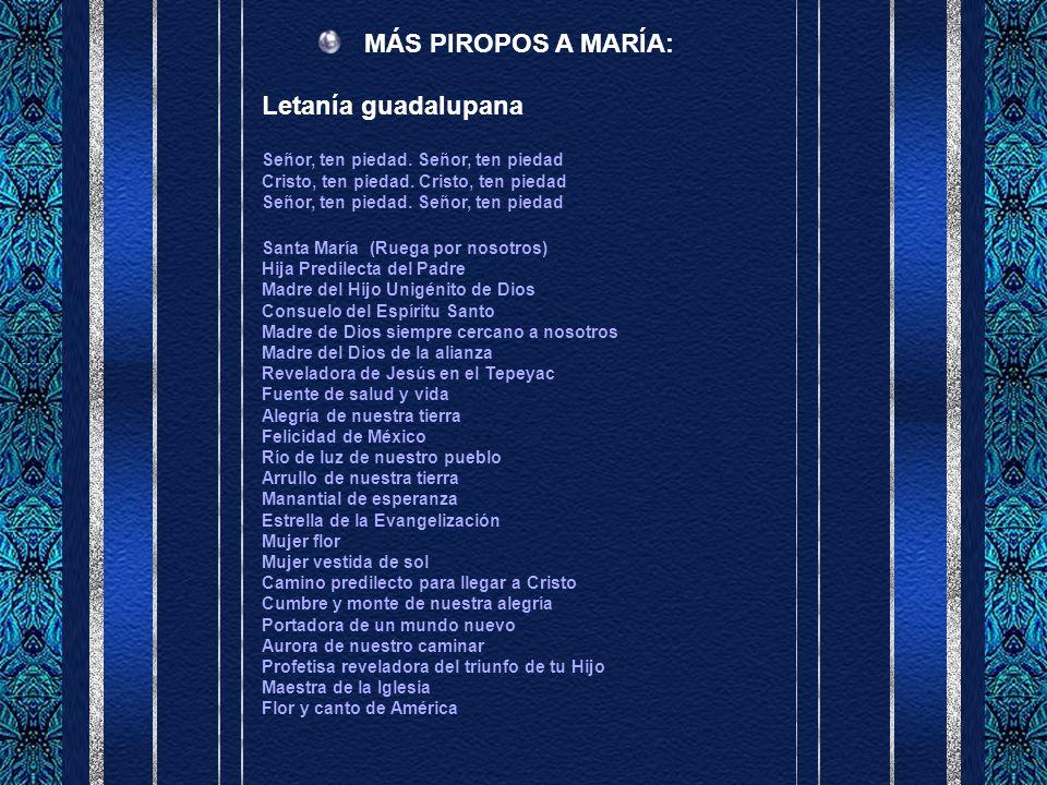 MÁS PIROPOS A MARÍA: Letanía guadalupana Señor, ten piedad.