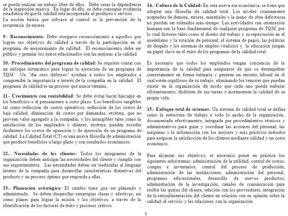 BIBLIOGRAFÍA: Acle Tomasini Alfredo, Retos y Riesgos de la Calidad, Editorial Grijalbo México, 1994.