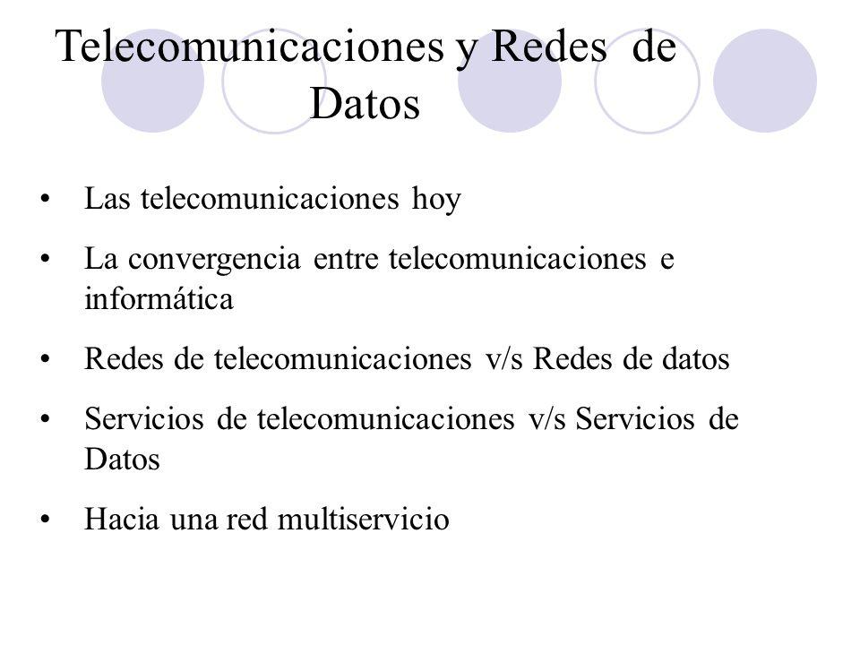 Telecomunicaciones y Redes de Datos Las telecomunicaciones hoy La convergencia entre telecomunicaciones e informática Redes de telecomunicaciones v/s Redes de datos Servicios de telecomunicaciones v/s Servicios de Datos Hacia una red multiservicio