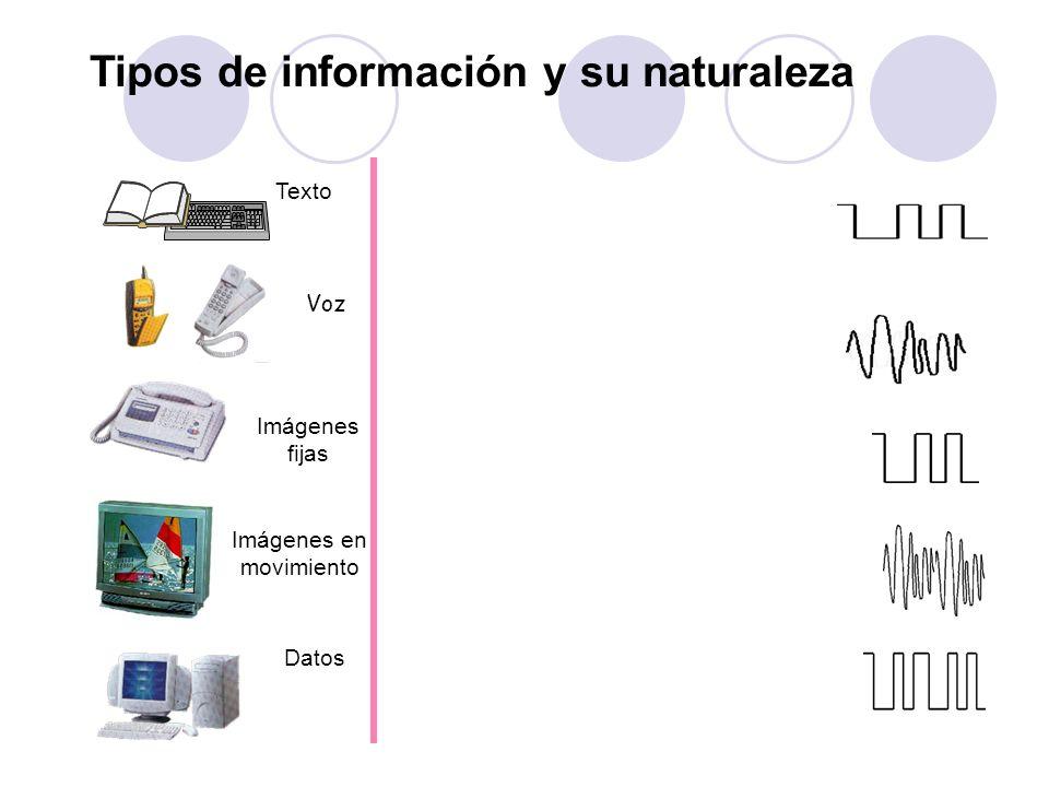 Voz Imágenes en movimiento Texto Imágenes fijas Datos Tipos de información y su naturaleza
