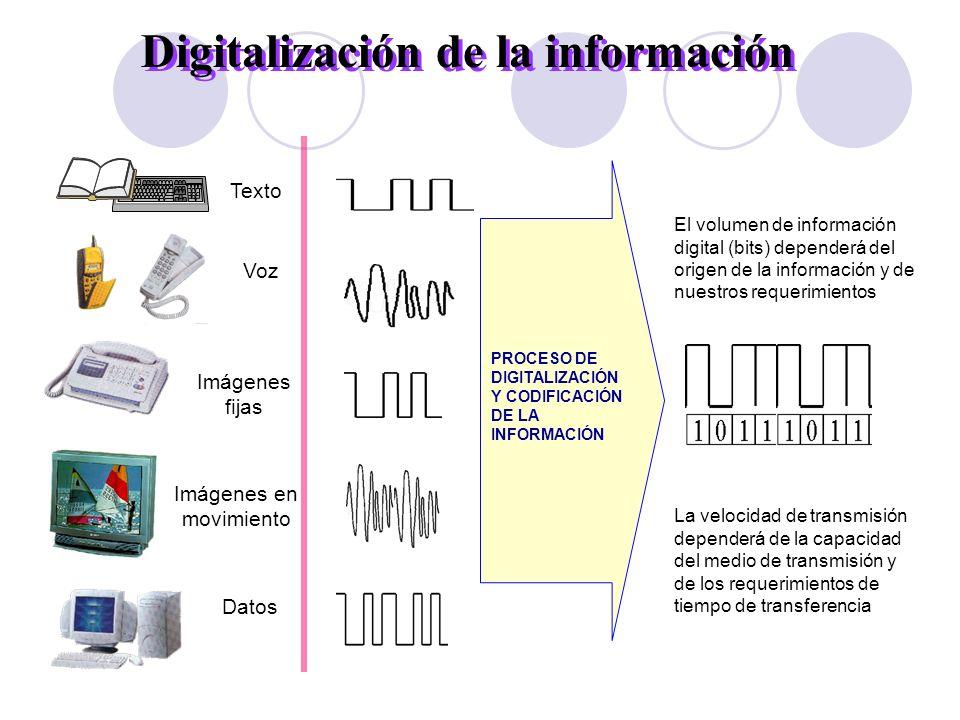 Voz Imágenes en movimiento Texto Imágenes fijas Datos Digitalización de la información PROCESO DE DIGITALIZACIÓN Y CODIFICACIÓN DE LA INFORMACIÓN El v