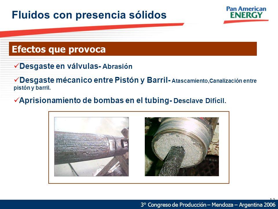 13 68 km 87 km Fluidos con presencia sólidos Efectos que provoca 3° Congreso de Producción – Mendoza – Argentina 2006 Desgaste en válvulas- Abrasión Desgaste mécanico entre Pistón y Barril- Atascamiento,Canalización entre pistón y barril.