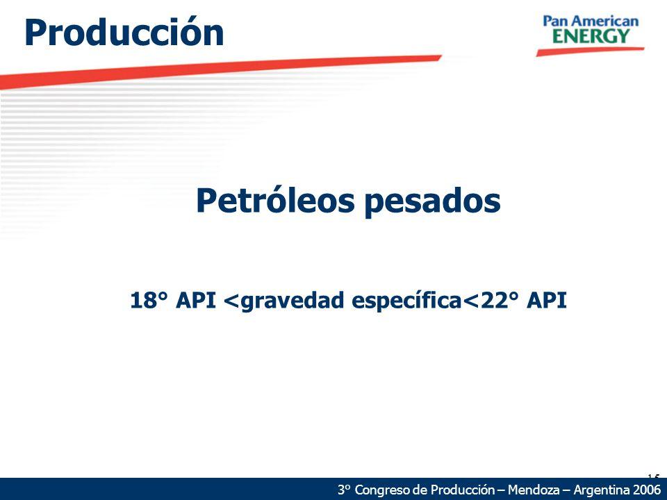 15 Producción Petróleos pesados 18° API <gravedad específica<22° API 3° Congreso de Producción – Mendoza – Argentina 2006