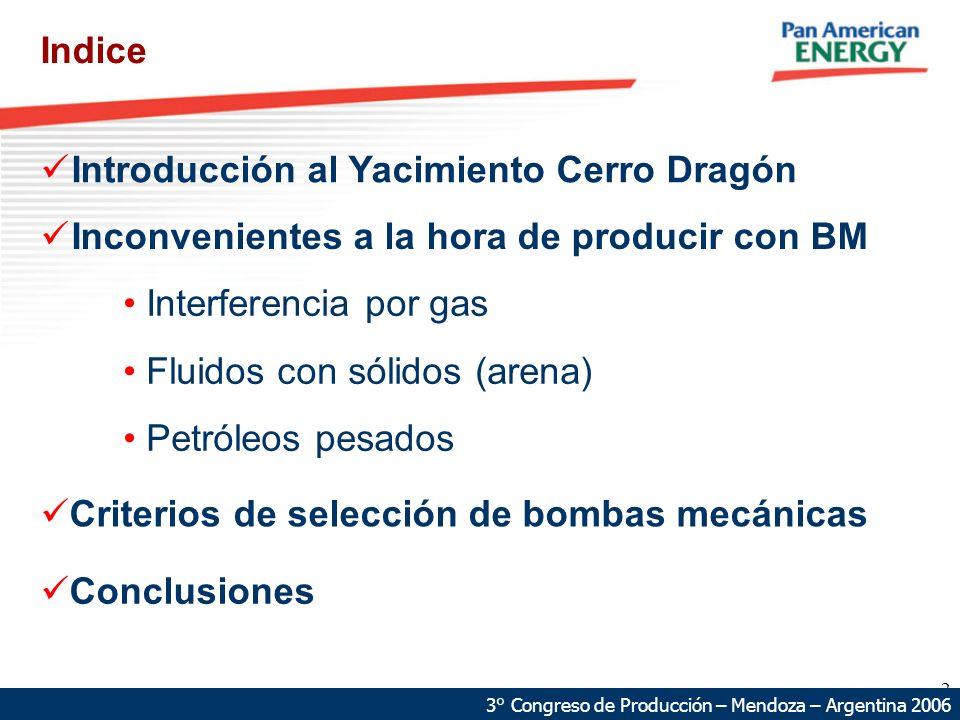2 68 km 87 km Introducción al Yacimiento Cerro Dragón Indice 3° Congreso de Producción – Mendoza – Argentina 2006 Conclusiones Inconvenientes a la hora de producir con BM Interferencia por gas Fluidos con sólidos (arena) Petróleos pesados Criterios de selección de bombas mecánicas