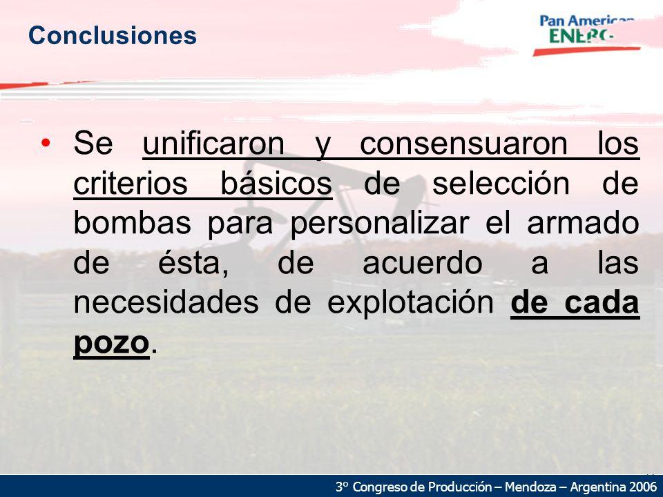 21 3° Congreso de Producción – Mendoza – Argentina 2006 Conclusiones Se unificaron y consensuaron los criterios básicos de selección de bombas para personalizar el armado de ésta, de acuerdo a las necesidades de explotación de cada pozo.