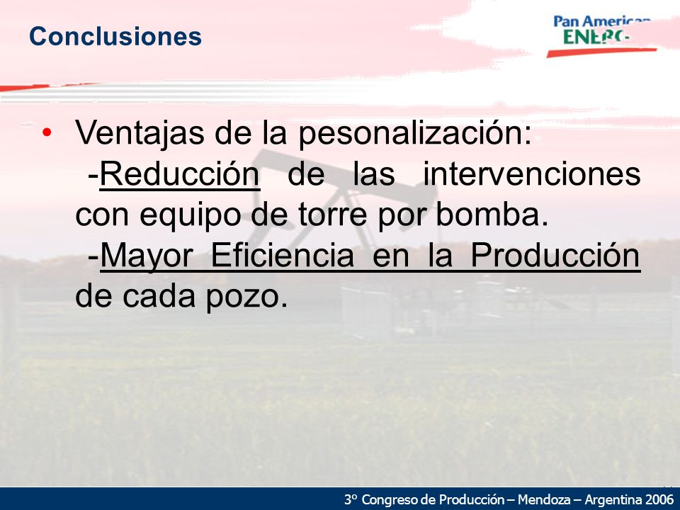22 3° Congreso de Producción – Mendoza – Argentina 2006 Conclusiones Ventajas de la pesonalización: -Reducción de las intervenciones con equipo de torre por bomba.