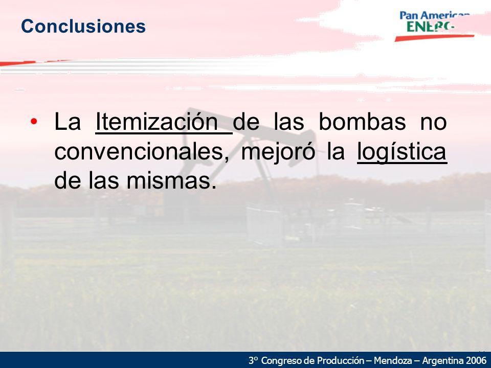 23 3° Congreso de Producción – Mendoza – Argentina 2006 Conclusiones La Itemización de las bombas no convencionales, mejoró la logística de las mismas.