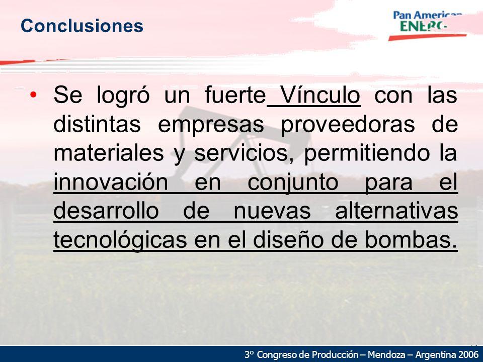 24 3° Congreso de Producción – Mendoza – Argentina 2006 Conclusiones Se logró un fuerte Vínculo con las distintas empresas proveedoras de materiales y servicios, permitiendo la innovación en conjunto para el desarrollo de nuevas alternativas tecnológicas en el diseño de bombas.