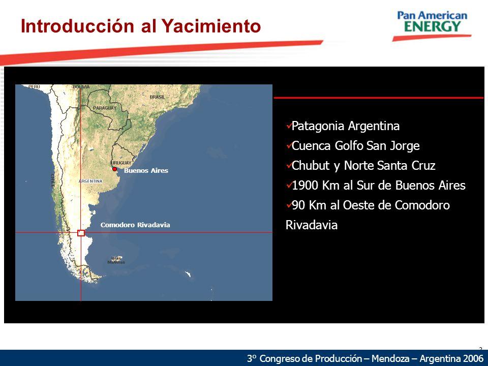 3 Introducción al Yacimiento Patagonia Argentina Cuenca Golfo San Jorge Chubut y Norte Santa Cruz 1900 Km al Sur de Buenos Aires 90 Km al Oeste de Com