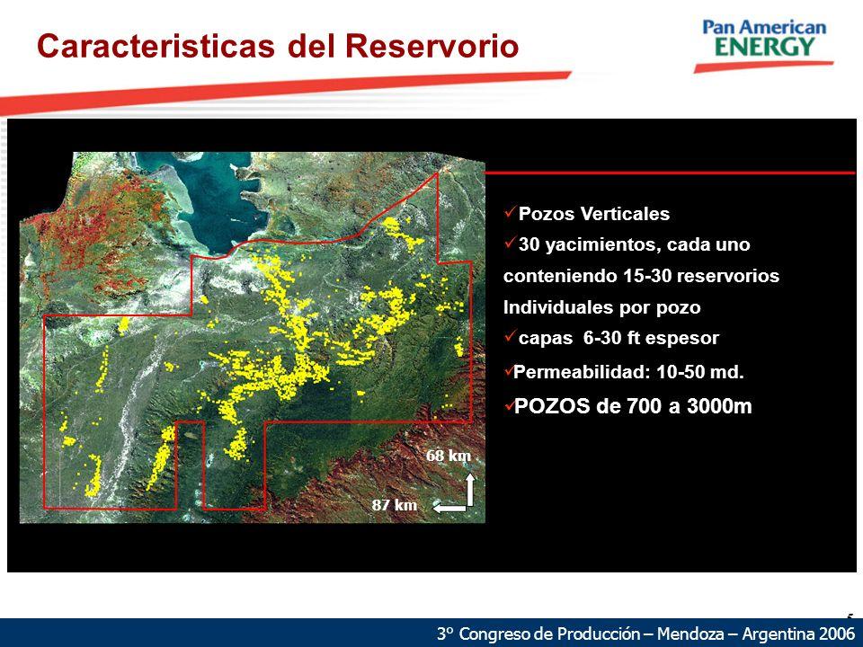 5 Caracteristicas del Reservorio 68 km 87 km Pozos Verticales 30 yacimientos, cada uno conteniendo 15-30 reservorios Individuales por pozo capas 6-30 ft espesor Permeabilidad: 10-50 md.