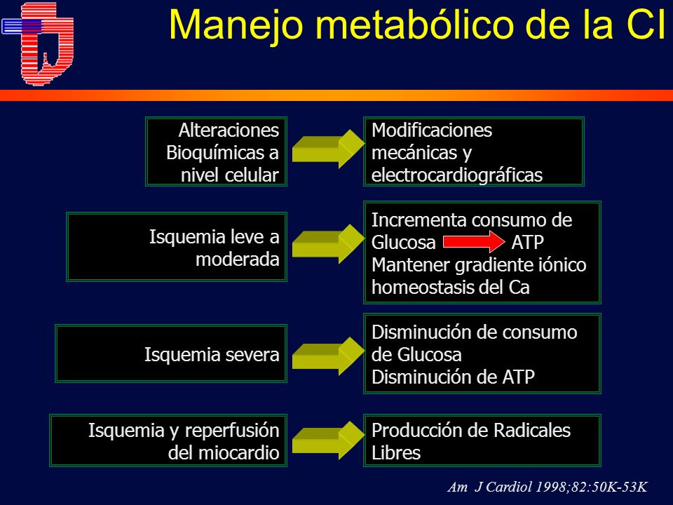 Manejo metabólico de la CI Alteraciones Bioquímicas a nivel celular Am J Cardiol 1998;82:50K-53K Modificaciones mecánicas y electrocardiográficas Isquemia leve a moderada Incrementa consumo de Glucosa ATP Mantener gradiente iónico homeostasis del Ca Isquemia severa Disminución de consumo de Glucosa Disminución de ATP Isquemia y reperfusión del miocardio Producción de Radicales Libres