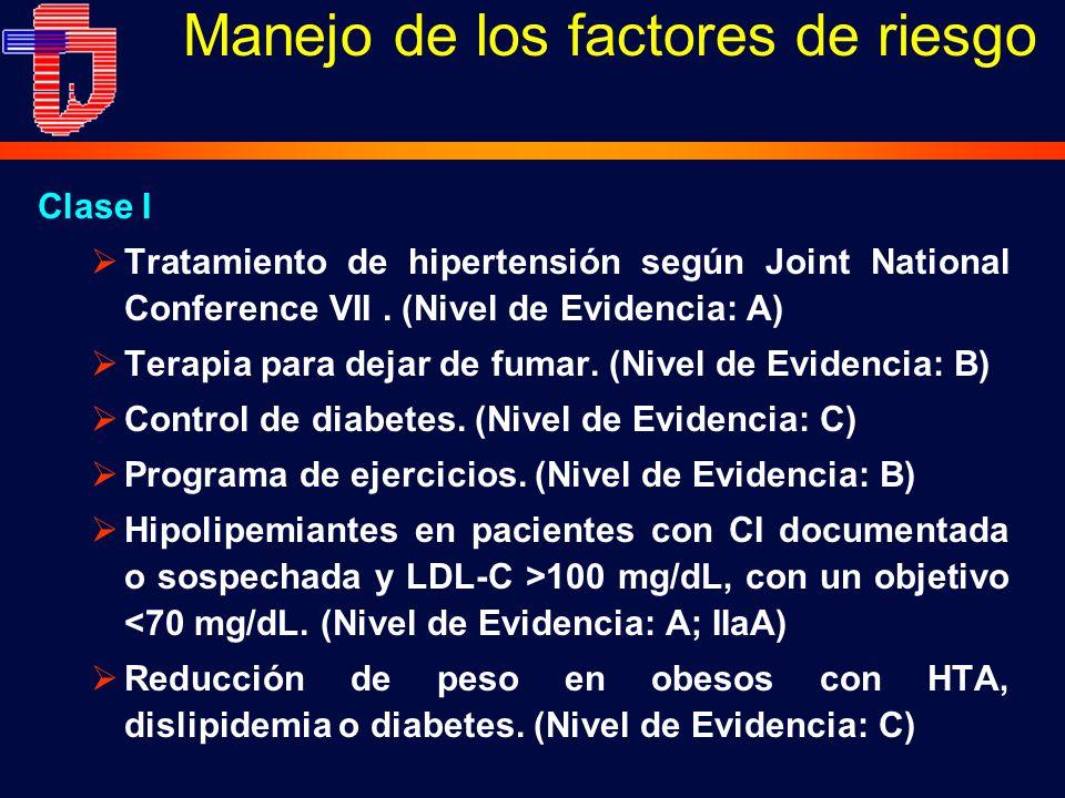 Manejo de los factores de riesgo Clase I Tratamiento de hipertensión según Joint National Conference VII. (Nivel de Evidencia: A) Terapia para dejar d